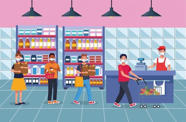 Pessoas às compras no supermercado com máscara facial