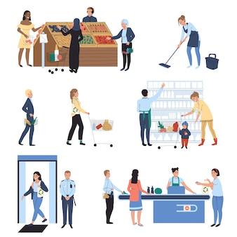Pessoas às compras no supermercado, ilustração de mercearia