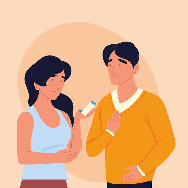 Pessoas asmáticas doentes com inalador