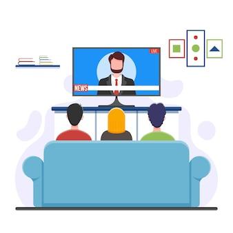 Pessoas assistindo a ilustração de notícias