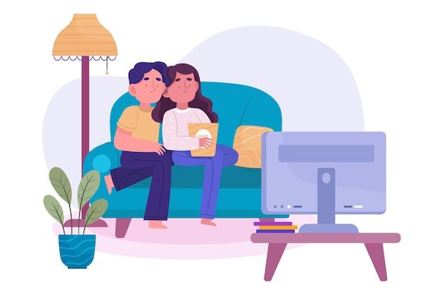 Pessoas assistindo a um filme em casa conceito