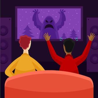 Pessoas assistindo a um filme em casa
