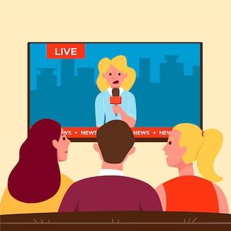 Pessoas assistindo as notícias em casa na tv