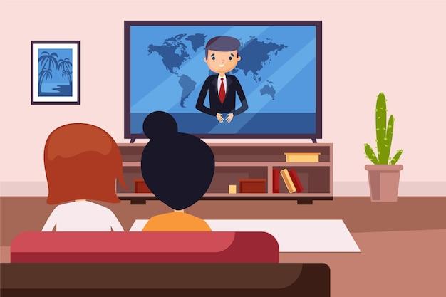 Pessoas assistindo as notícias em casa