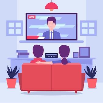 Pessoas assistindo as notícias