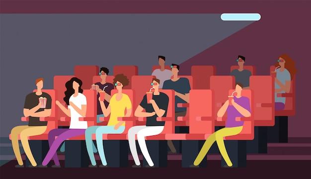Pessoas assistindo filme no interior da sala de cinema. família dos desenhos animados no conceito de vetor de teatro