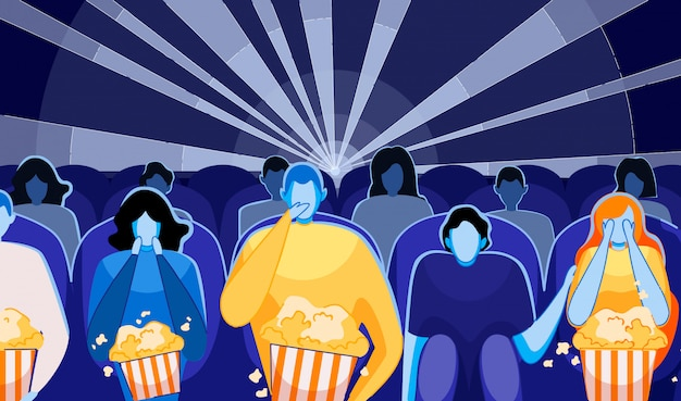 Pessoas assistindo filme ou filme e comendo pipocas.