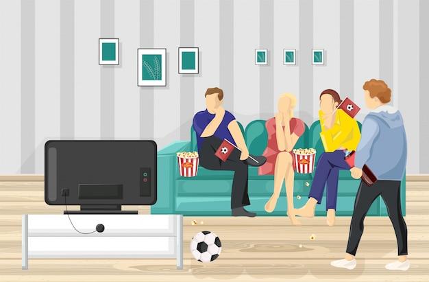 Pessoas assistindo futebol na tv