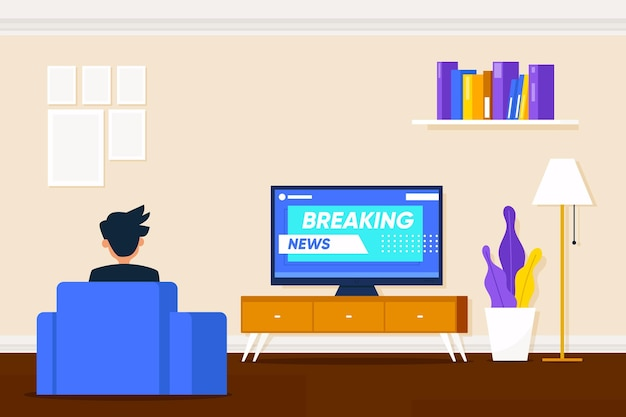 Pessoas assistindo o conceito de notícias