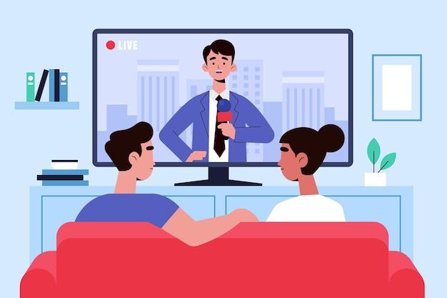 Pessoas assistindo o design de notícias