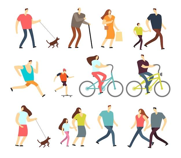 Pessoas ativas andando, andar de bicicleta, executando o conjunto de caracteres ao ar livre