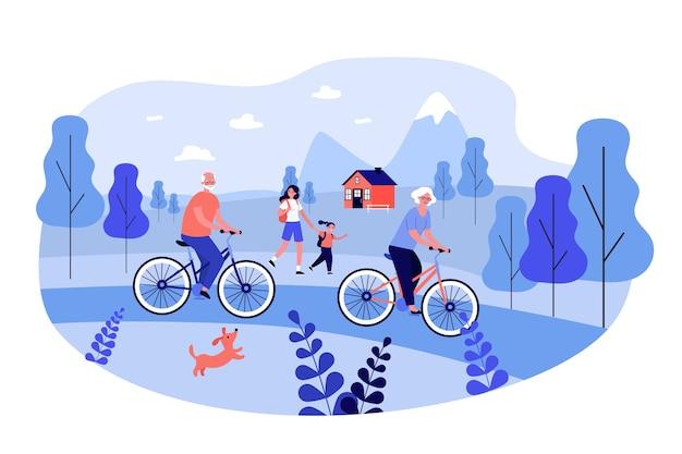 Pessoas ativas andando de bicicleta e caminhando ao ar livre.