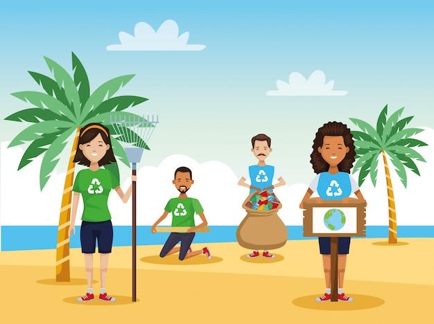 Pessoas ativistas, limpeza, praia, cena, vetorial, ilustração, desenho