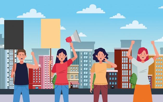 Pessoas ativistas protestando com ilustração de personagens de banners