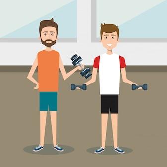 Pessoas atléticas praticando caracteres de exercício