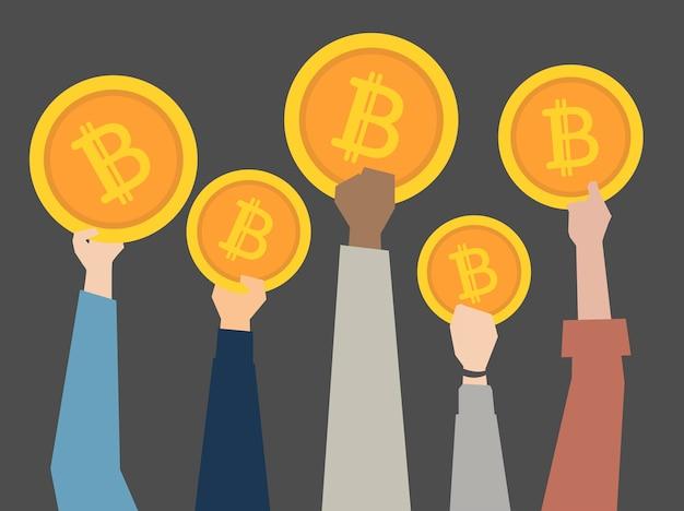 Pessoas, atrasando, cryptocurrency, ilustração