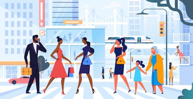 Pessoas atravessando a rua ilustração