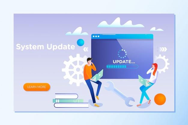 Pessoas atualizam sistema operacional