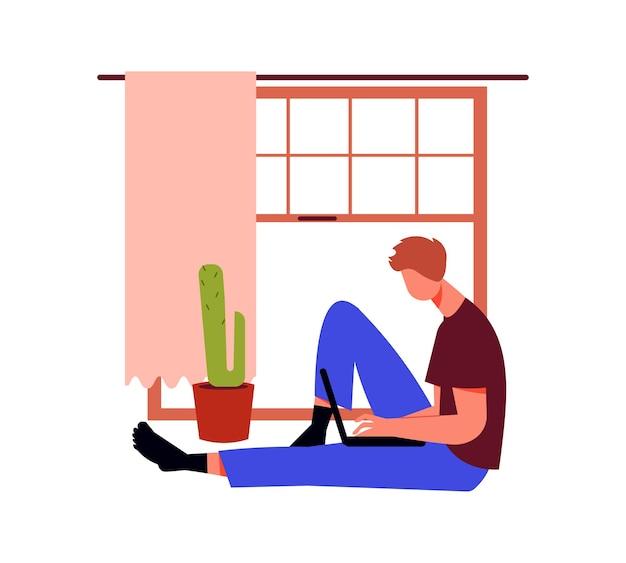 Pessoas autônomas trabalham a composição com a janela interior da casa e o homem sentado com o laptop