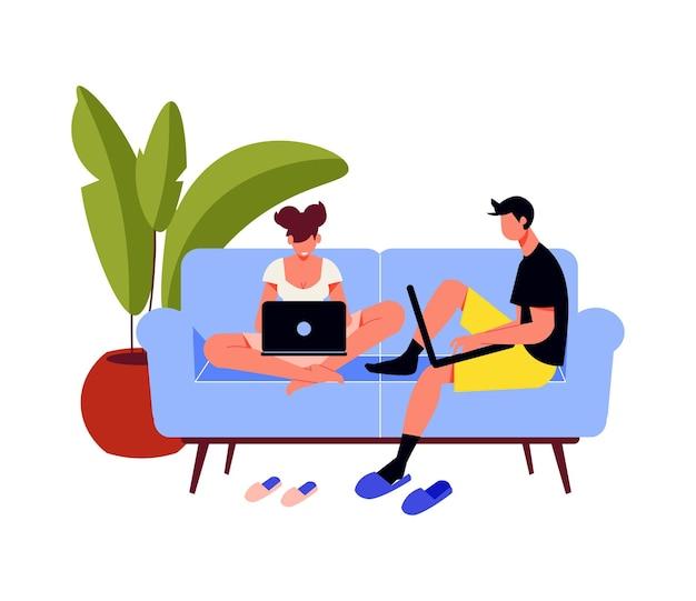 Pessoas autônomas trabalham a composição com vista para o sofá com um homem e uma mulher segurando laptops