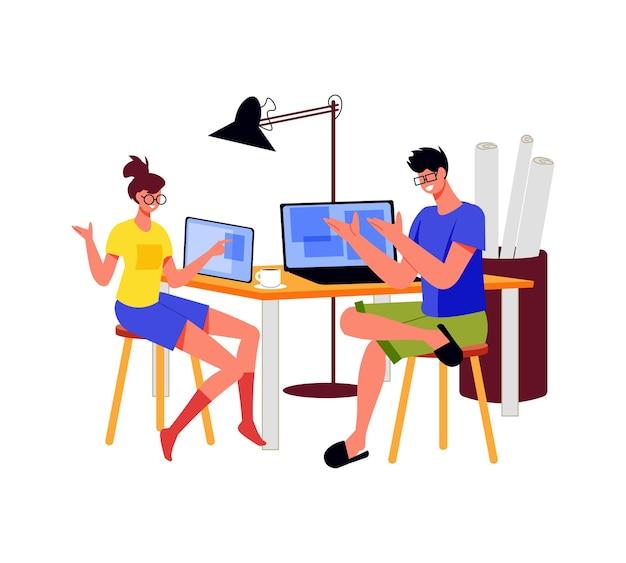 Pessoas autônomas trabalham composição com dois arquitetos sentados à mesa em casa com computadores e rascunhos