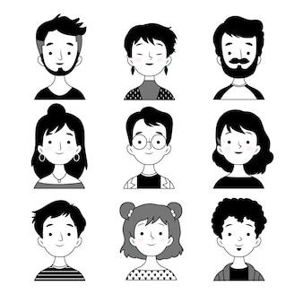Pessoas avatares preto e branco design