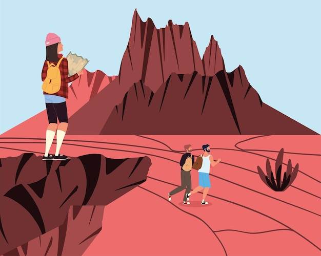 Pessoas aventura paisagem rochosa árida