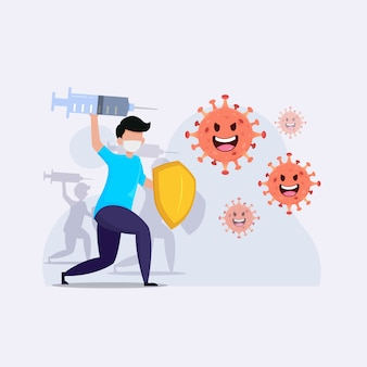Pessoas batalha ilustração de surto de coronavírus Vetor Premium