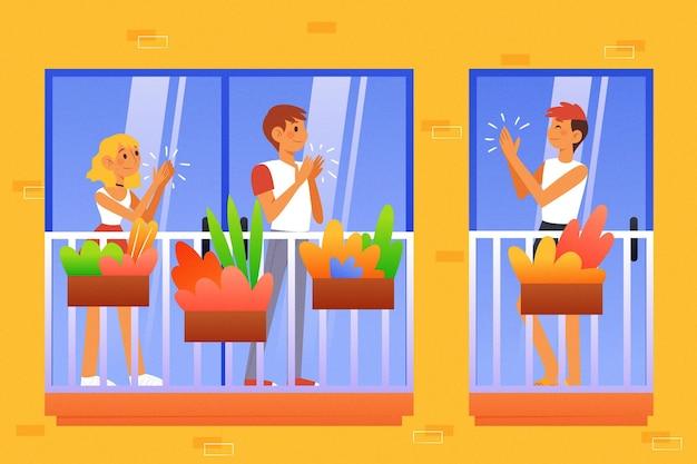 Pessoas batendo palmas nas varandas ilustradas