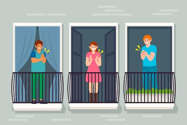 Pessoas batendo palmas nas varandas juntos