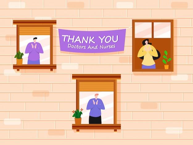 Pessoas batendo palmas para apreciar médicos e enfermeiros da varanda ou janela com dizer obrigado no fundo da parede de tijolo de pêssego.
