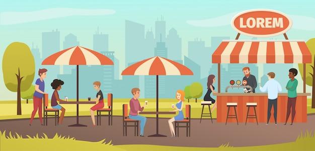 Pessoas bebem café no café de rua vector ao ar livre