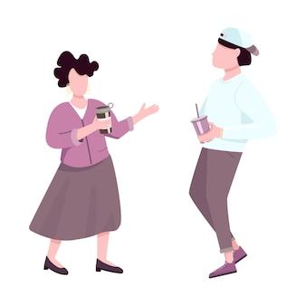 Pessoas bebendo café e conversando com personagens sem rosto de cores planas