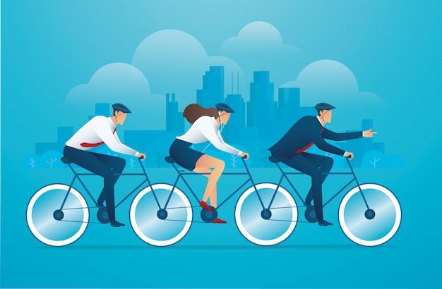 Pessoas biking conceito de trabalho de equipe de negócios de bicicleta