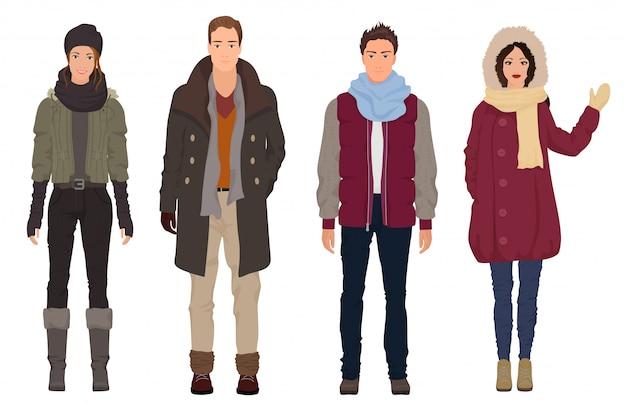 Pessoas bonitas no inverno roupas casuais quentes