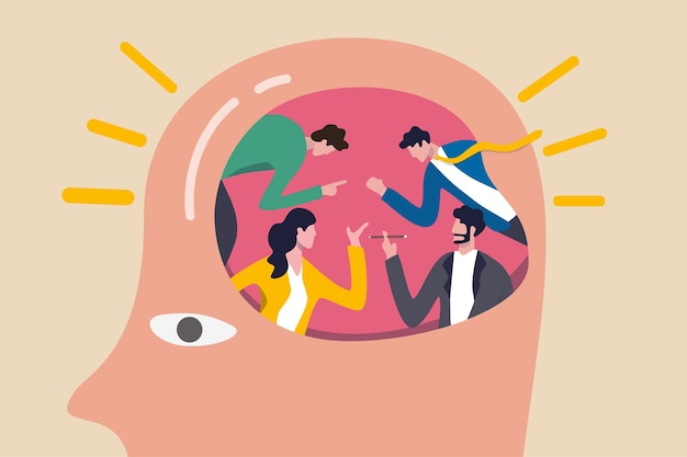 Pessoas brainstorming para uma grande ideia e solução de negócios, trabalho em equipe ou colaboração discutem o conceito de pensamento criativo, pessoas de escritório de negócios brainstorming no cérebro humano com efeito de lâmpada brilhante.
