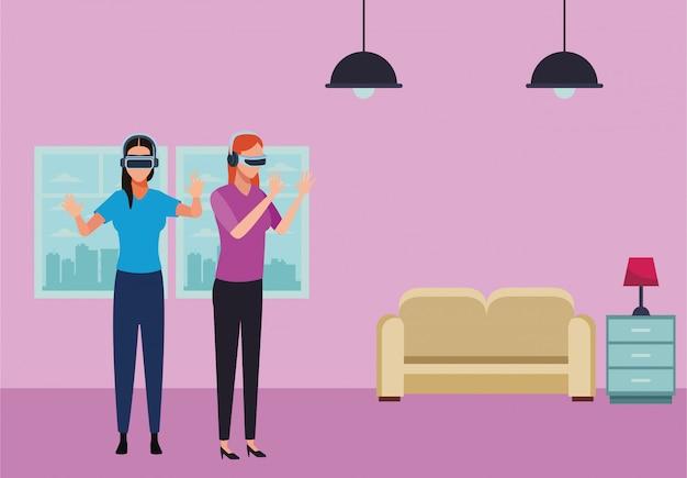 Pessoas brincando com óculos de realidade virtual