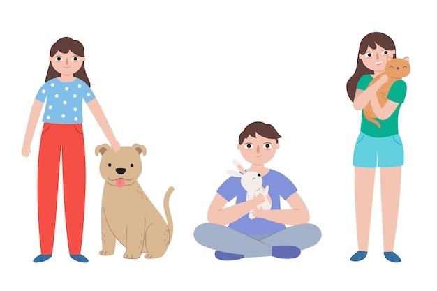 Pessoas brincando com seu conceito de animais de estimação