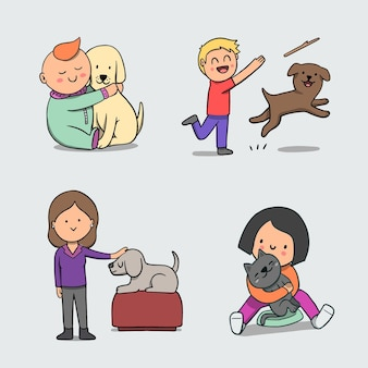 Pessoas brincando com seus animais de estimação
