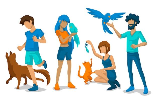 Pessoas brincando com seus animais domésticos