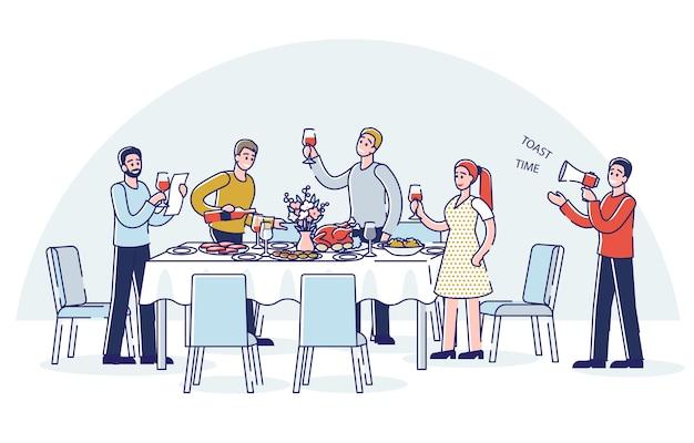 Pessoas brindando em pé ao redor da mesa de jantar do feriado grupo de amigos, familiares ou colegas de desenho animado celebram juntos