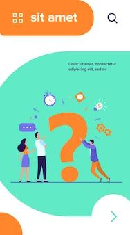 Pessoas buscando soluções e pedindo ajuda. homens e mulheres discutindo um grande ponto de interrogação