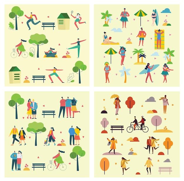 Pessoas caminhando ao ar livre no parque