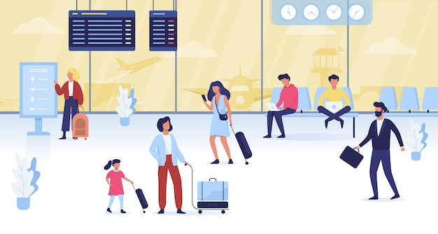 Pessoas caminhando com a bagagem no aeroporto