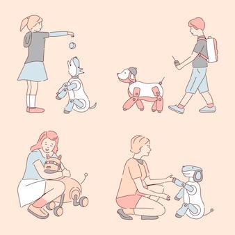 Pessoas caminhando e brincando com animais de estimação mecânicos.
