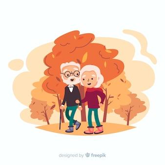 Pessoas caminhando juntos no outono