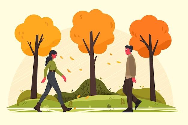 Pessoas caminhando no outono