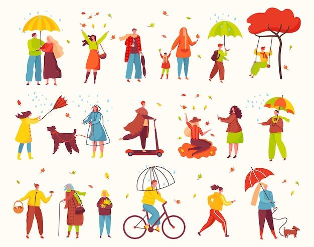 Pessoas caminhando no parque de outono, outono, atividades ao ar livre, personagens sob guarda-chuvas na chuva