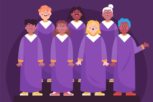 Pessoas cantando em um coral gospel