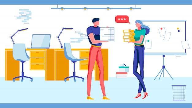 Pessoas, caracteres de funcionários de escritório trabalham juntos.